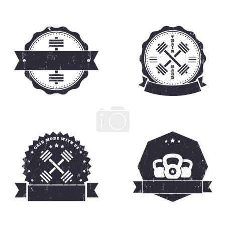 Fitness, Gym grunge logos, emblems, signs with crossed barbells