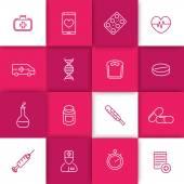 Medicine health care pharmaceutics hospital line icons on square geometric background