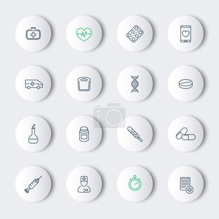 Medicine, health care, pharmaceutics, hospital, line round modern icons