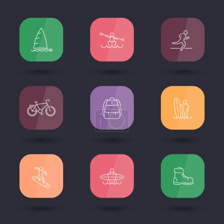 Travel, adventure, surfing, line color rounded square icons