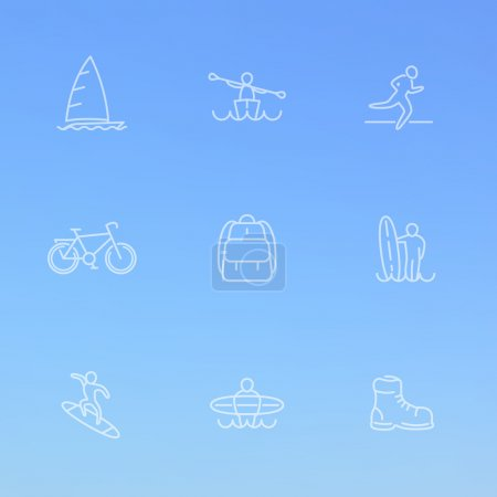 Travel, adventure, surfing, line white icons on blue