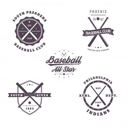 Baseball vintage emblems with crossed bats isolated on white