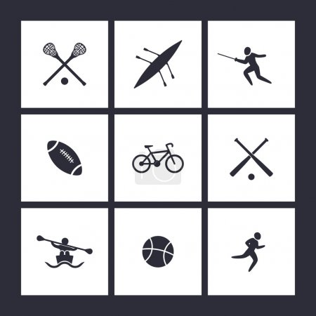 College sports, square flat icons