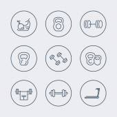 Gym equipment line icons in circles