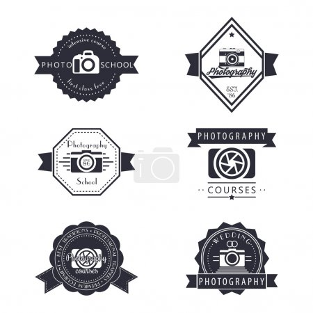 Photography, photo school, photographer logo, emblems, signs, badges