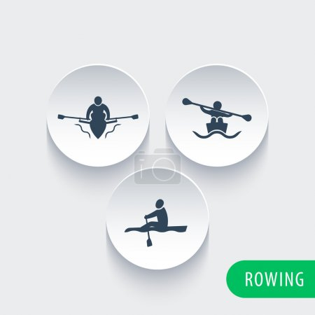 Rowing, kayak, canoe, rower icons on round 3d shapes