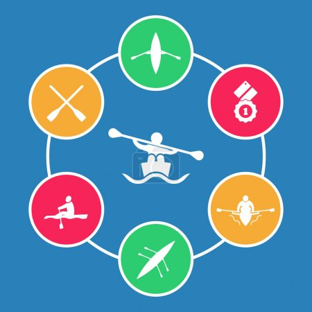 Rowing, kayak, canoe, rower, oar flat round icons