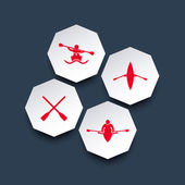 Rowing kayak canoe rower oar octagon icons in red