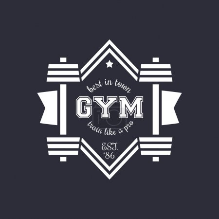 White vintage gym logo with barbell