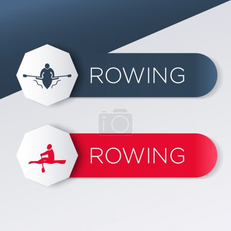 Rowing logo, icon, banner, label in blue and red