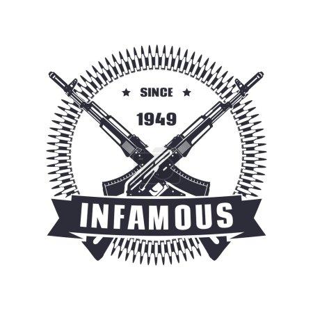 Illustration pour Emblème vintage, signe, conception de t-shirt, impression, tristement célèbre depuis 1949 illustration vectorielle, eps10, facile à éditer - image libre de droit