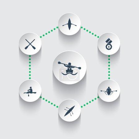 Rowing, kayak, canoe, rower, oar round icons