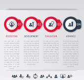 Staff employee development steps infographic elements icons timeline