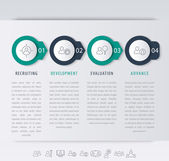 Staff personnel development steps infographic elements line icons