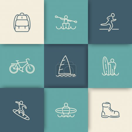 Travel, adventure, surfing, linear icons set