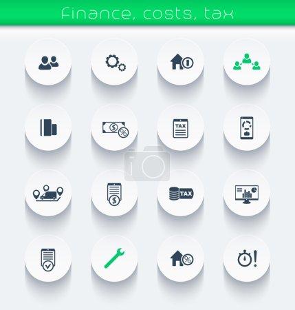 Illustration pour Finance, coûts, icônes fiscales, éléments d'infographie, illustration vectorielle, eps10, facile à éditer - image libre de droit