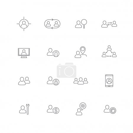 Personnel, Human resources, HR, staff, line icons