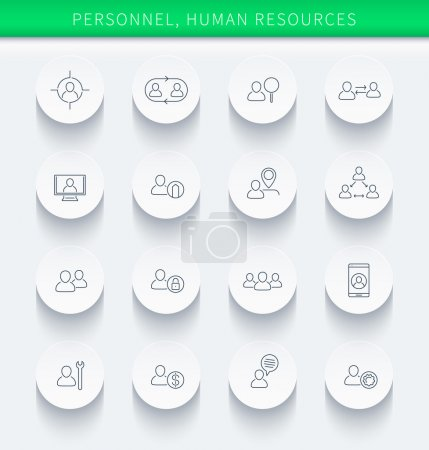Personnel, Human resources, HR, staff, thin linear round icons