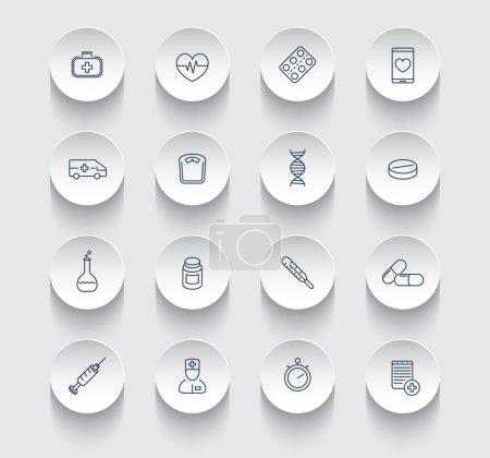 medicine, health care, pharmaceutics, hospital, line round icons pack