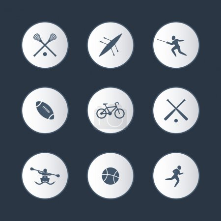 College sports, round icons set