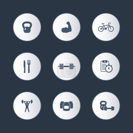 Fitness, sport, gym round icons set