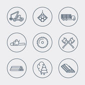 Forestry Timber Tree Harvester Sawmill line icons vector eps10