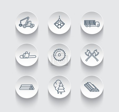 Forestry, Timber, Tree Harvester, line icons on round 3d shapes