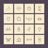 Fitness gym training line icons pack vector illustration