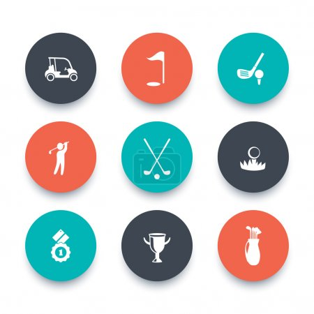 Golf, golf club, car, golfer, round icons