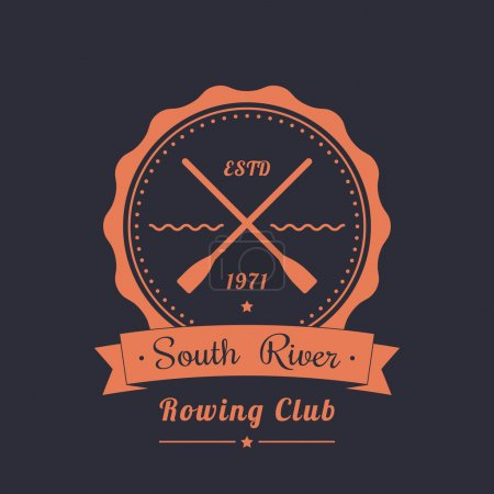 Rowing club vintage logo, emblem with crossed oars