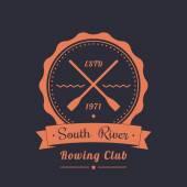 Rowing club vintage logo, emblem with crossed oars