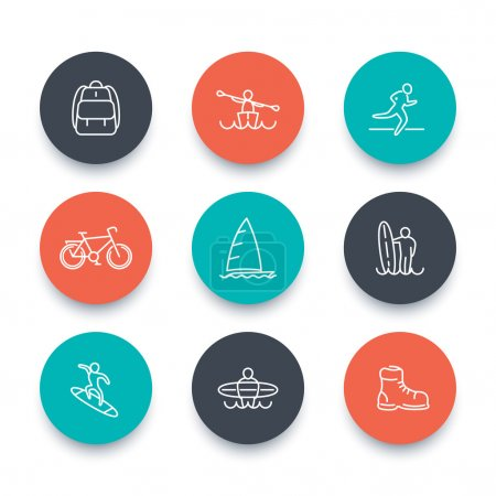 Travel, adventure, surfing line icons