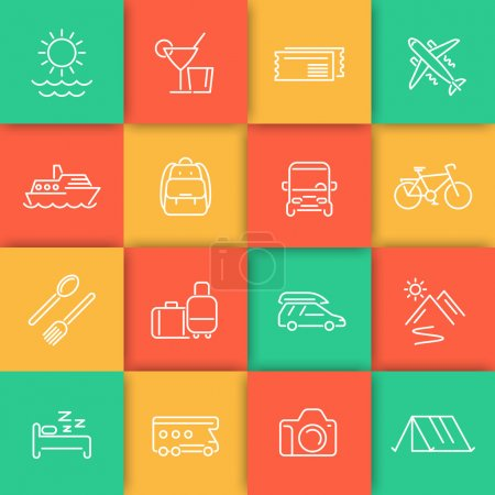 Travel, tourism, cruise, vacation line icons set