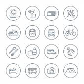 Travel tourism trip vacation line icons pack