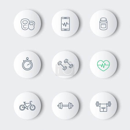 line fitness, gym modern round icons