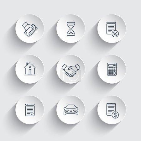Illustration pour Leasing, banque, prêt, icônes rondes, illustration vectorielle - image libre de droit