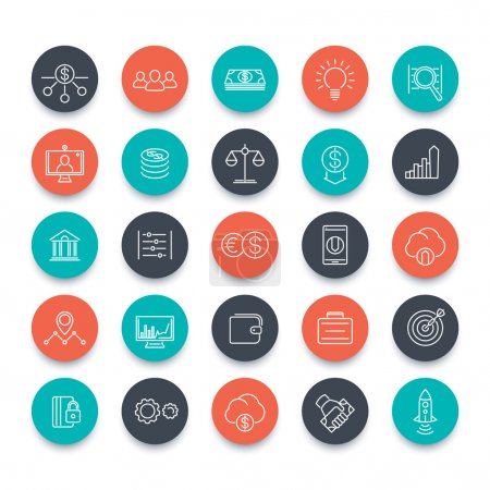 Venture capital, investments, startup, hedge fund, line icons pack