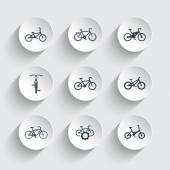 bicycle cycling bike electric bike fat-bike icons on round 3d shapes
