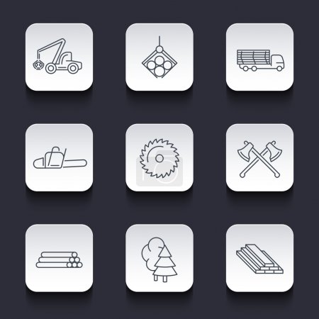 Forestry, Timber, Tree Harvester, Sawmill, Logging line rounded square icons