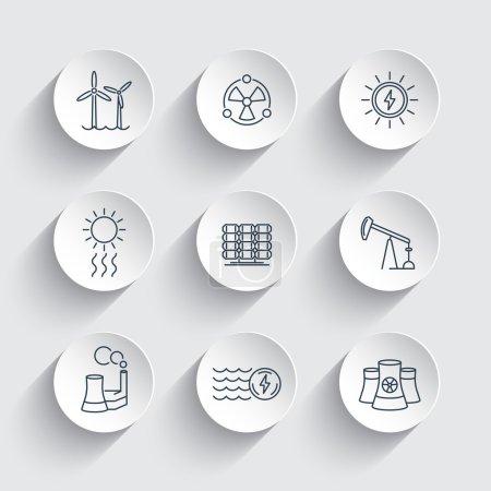 Illustration pour Énergie, production d'énergie, énergie, énergie solaire, énergie nucléaire, icônes rondes, illustration vectorielle - image libre de droit