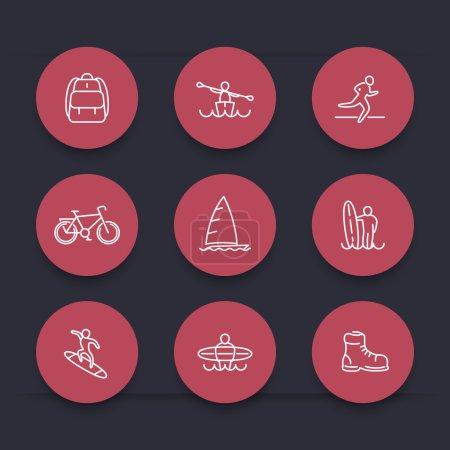Travel, adventure, surfing line round red icons