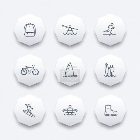 Travel, adventure, surfing, kayaking trip line octagon icons