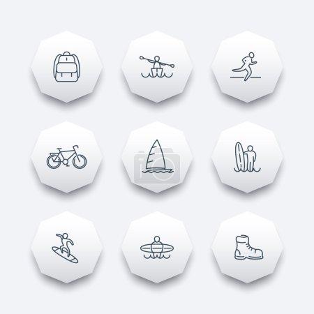 Travel, adventure, surfing, kayaking trip line octagon icons