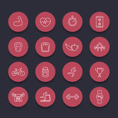 16 fitness gym training line round red icons vector illustration