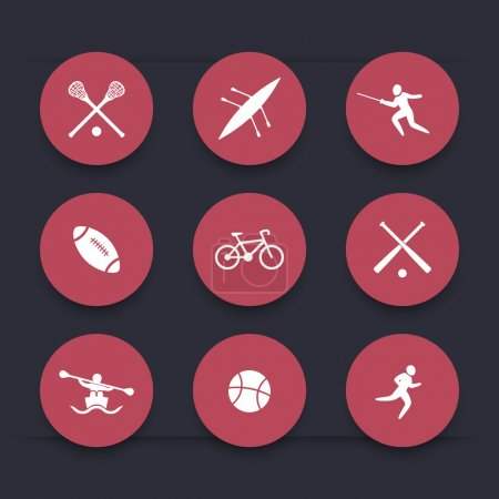 College sports, round red icons