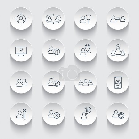 Personnel, Human resources, HR, staff rotation, line icons on round 3d shapes