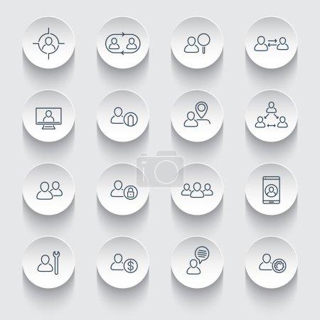 Illustration pour Personnel, Ressources humaines, RH, rotation du personnel, icônes de ligne sur les formes 3D rondes, illustration vectorielle - image libre de droit