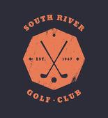 Golf Club Grunge Vintage Octagonal Emblem