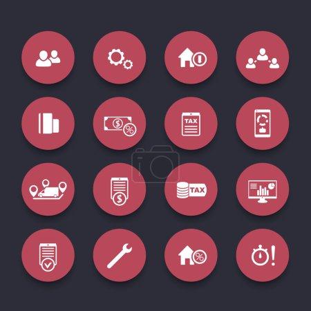 Illustration pour 16 finances, coûts, icônes rouges, illustration vectorielle - image libre de droit