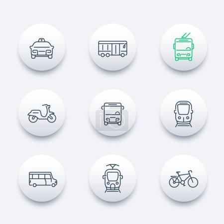 City transport, tram, train, bus, bike, taxi, trolleybus, line round modern icon